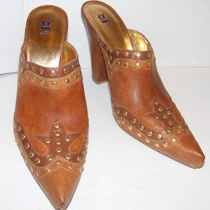 Brown Leather studded Western Boot Mules Booties 8
